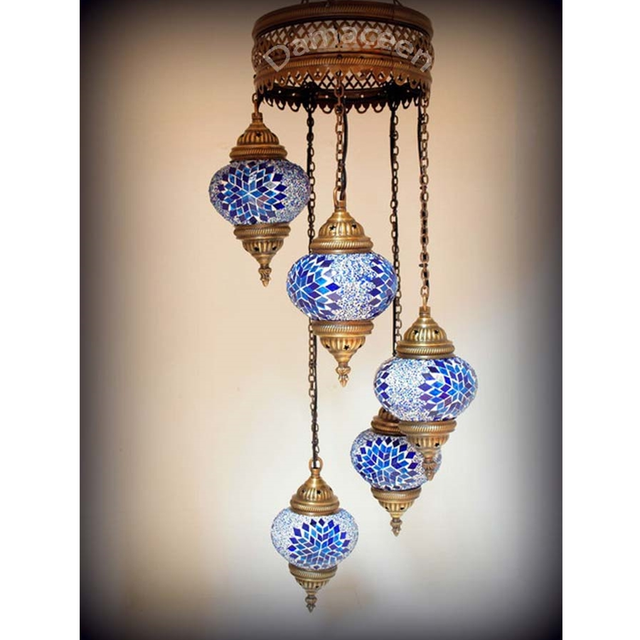 5 piece turkish hand made mosaic chandelier aloadofball Images