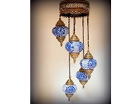 5 Piece Turkish Hand Made Mosaic Chandelier