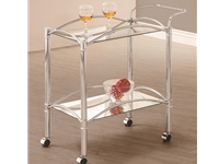 Coaster - NF910077 - Coaster Kitchen Carts Chrome Serving Cart with Mirrored Bottom Shelf and Casters