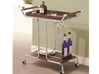 Coaster - NF910065 - Coaster Kitchen Carts Contemporary Serving Cart with Stemware Rack and Casters