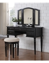 Poundex Vanity w/ Stool, Black F4072 (765) by New Furniture 4 Less