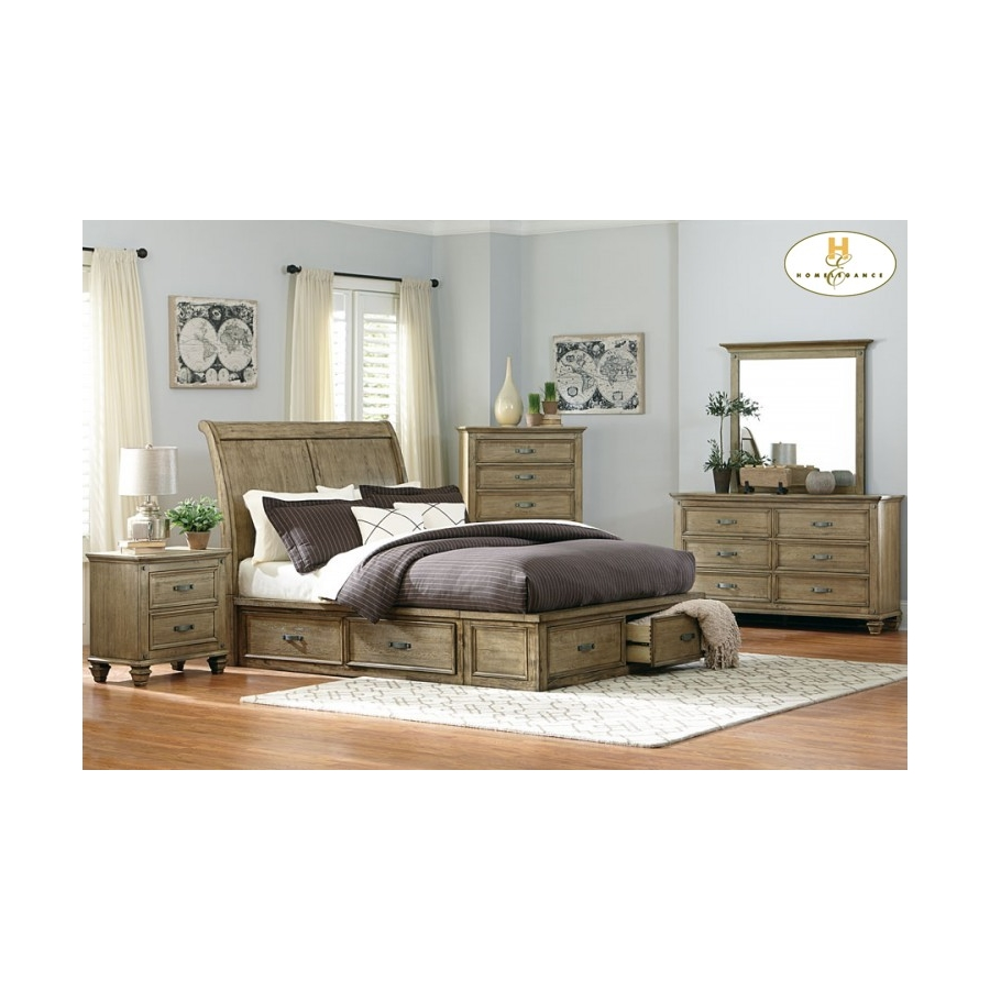 Home Eleglance - Queen Platform Bed with Footboard and Rail Storages