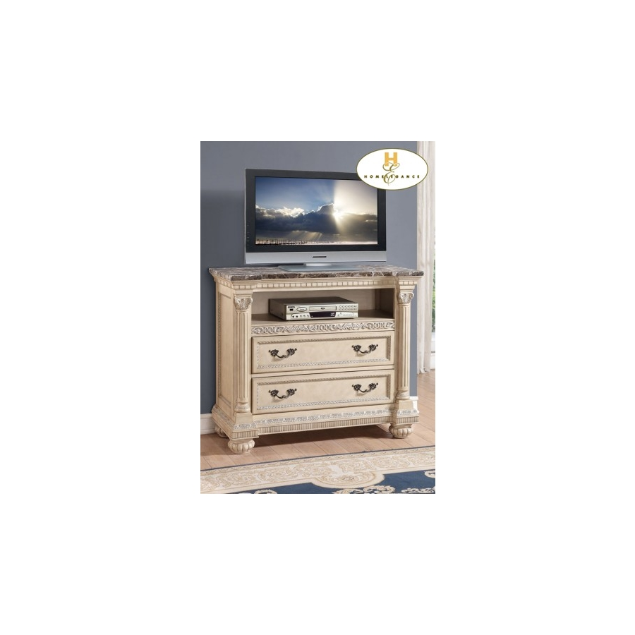 Home Eleglance - TV Chest with Faux Marble Top