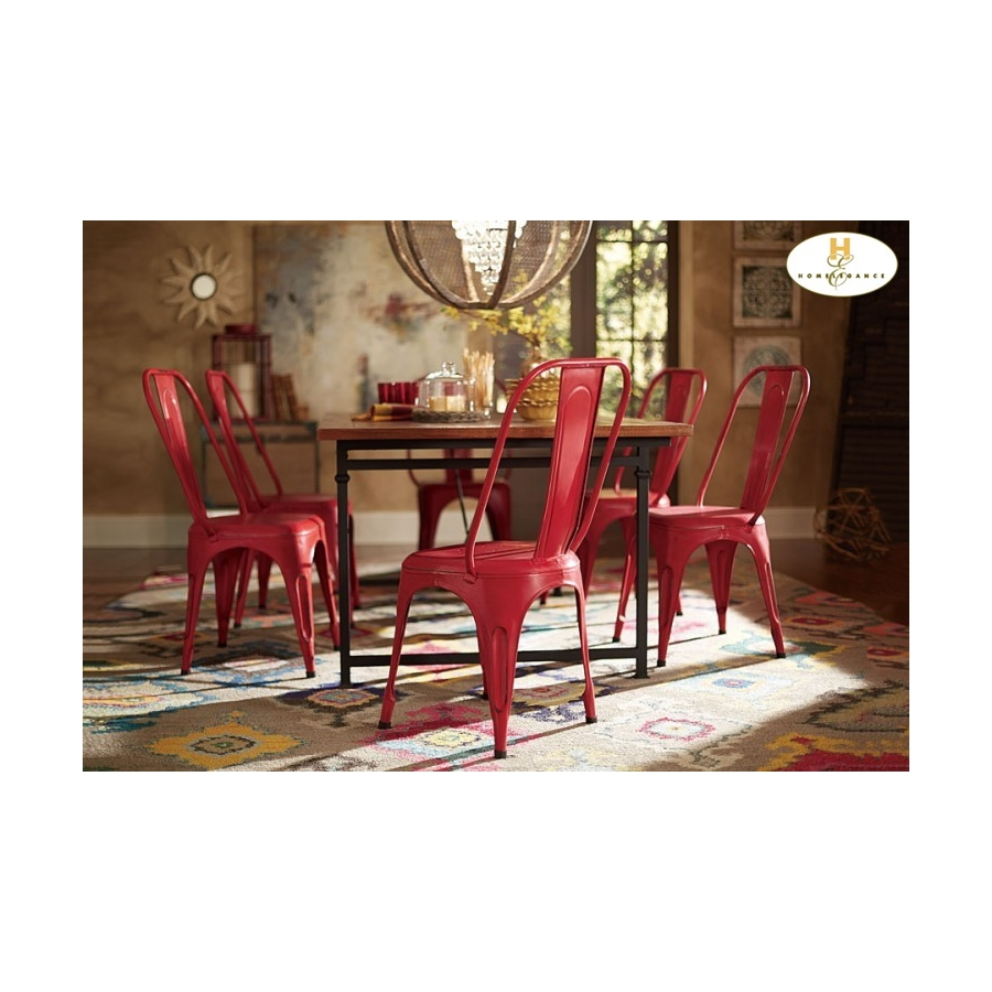 Home Eleglance - Metal Chair, Red
