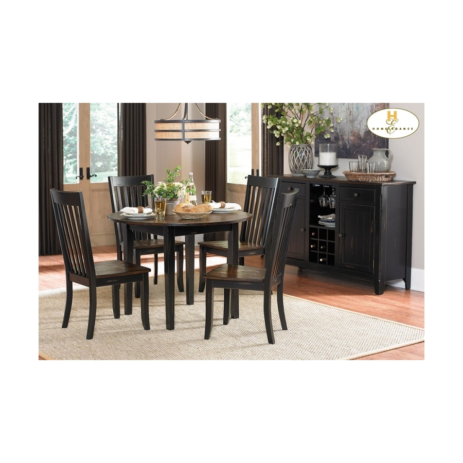 "Home Eleglance - Round Dining Table with Two 8"" Drop Leaves"