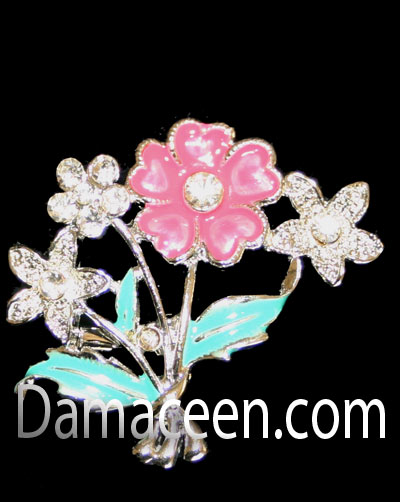 Flower Brooch Wth Rhinstone Pin#1377