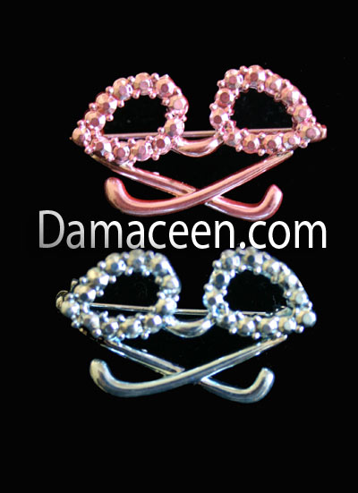 Rhinestone Glasses Pin Brooch #1395