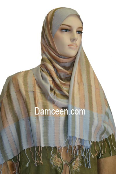 Fine Fabric Shawl with Strips #1445