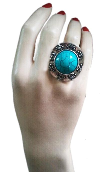Majestic Ring With Genuine Turquoise