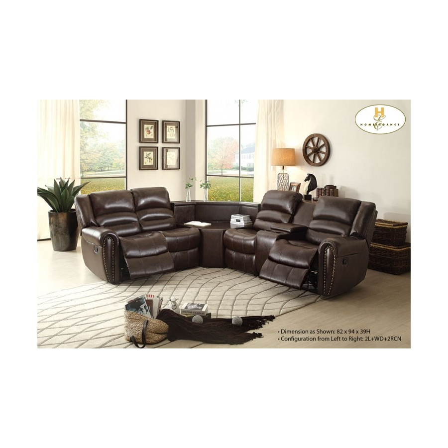 Home Eleglance - Left Side Reclining Love Seat with Center Console