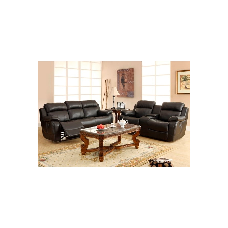 Home Eleglance - Double Glider Reclining Love Seat with Center Console