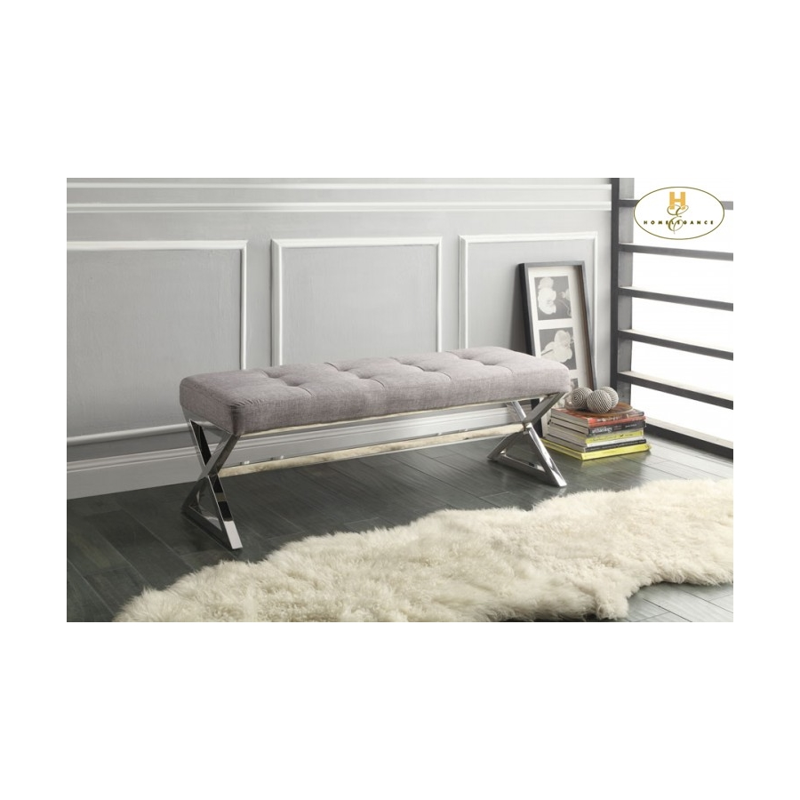 Home Eleglance - X-Base Bench, Grey Linen