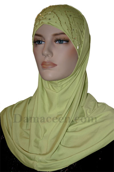 2PC Women Lycra Beaded Head Cover Hijab