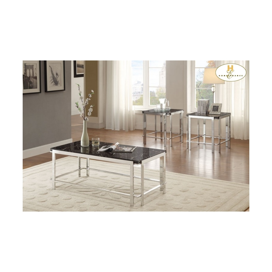 Home Eleglance - 3-Piece Occasional Tables, Faux Marble Top