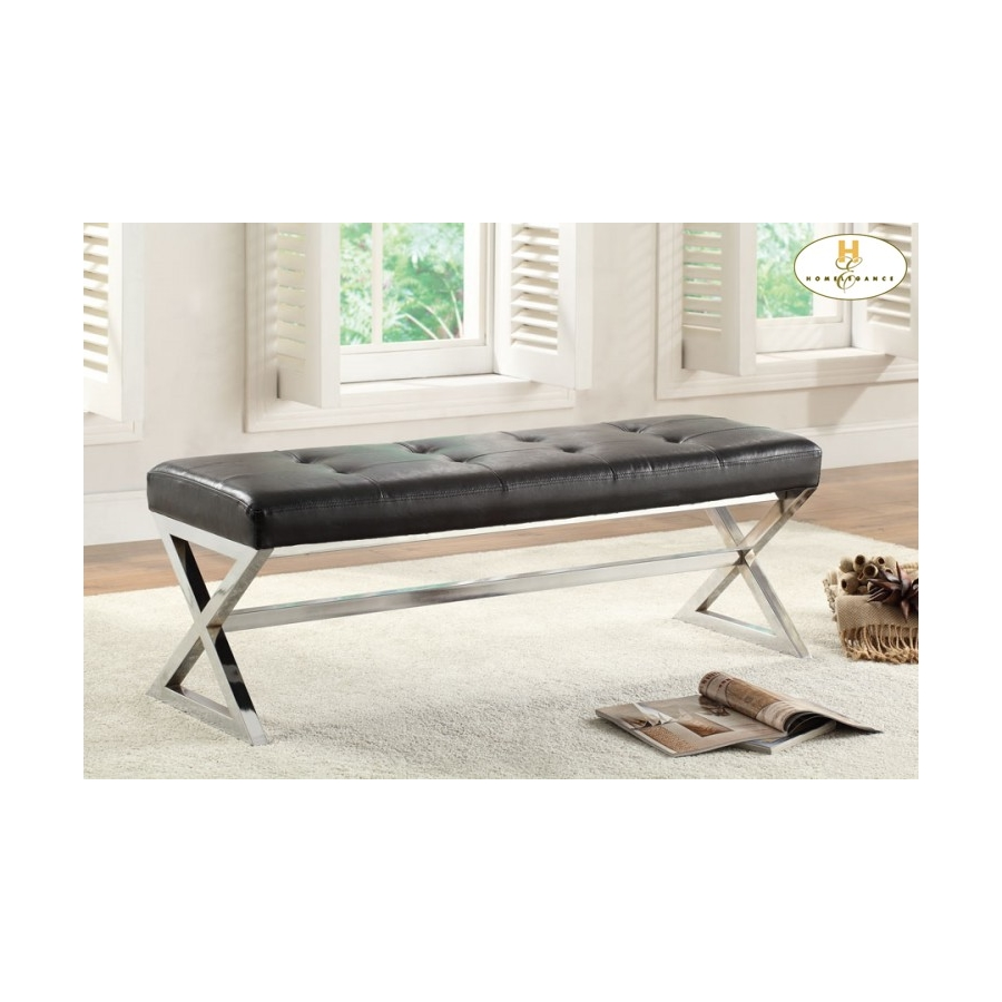 Home Eleglance - X-Base Bench, Black Bonded Leather