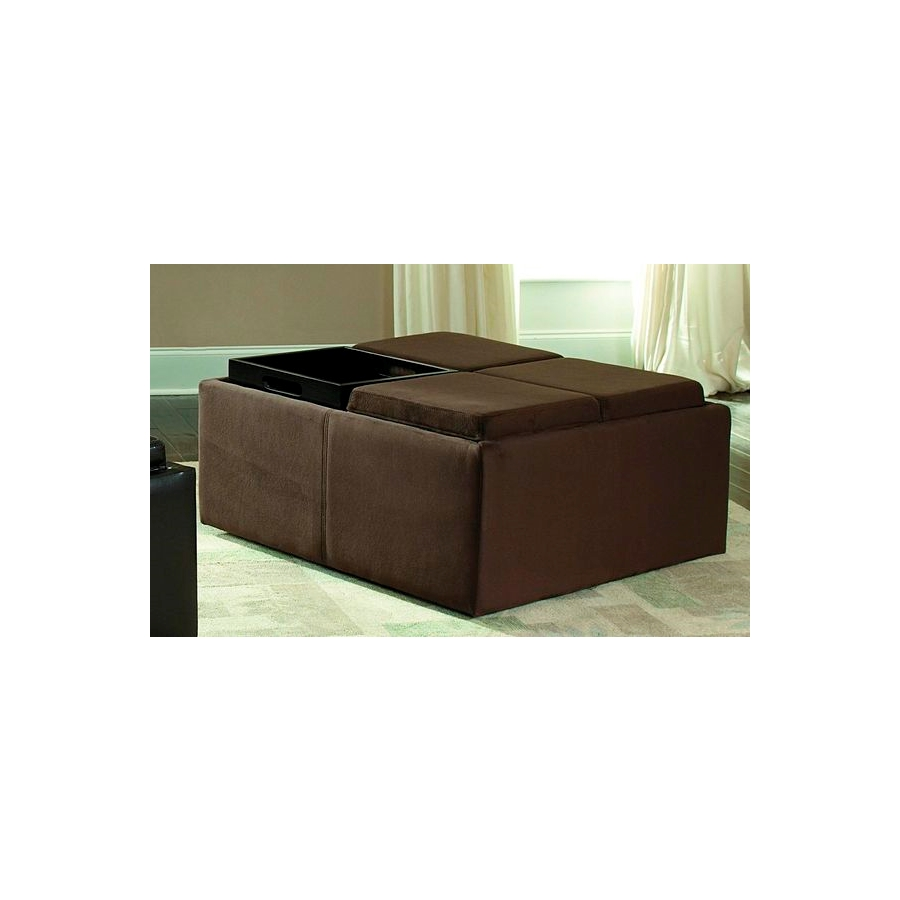 home eleglance cocktail ottoman with 4 trays storage