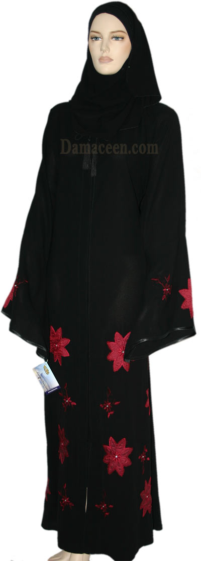 Carnation Flower Abaya with Scarf