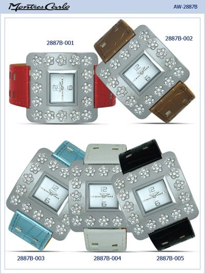 Montres Carlo Women Square Leather Band Watch