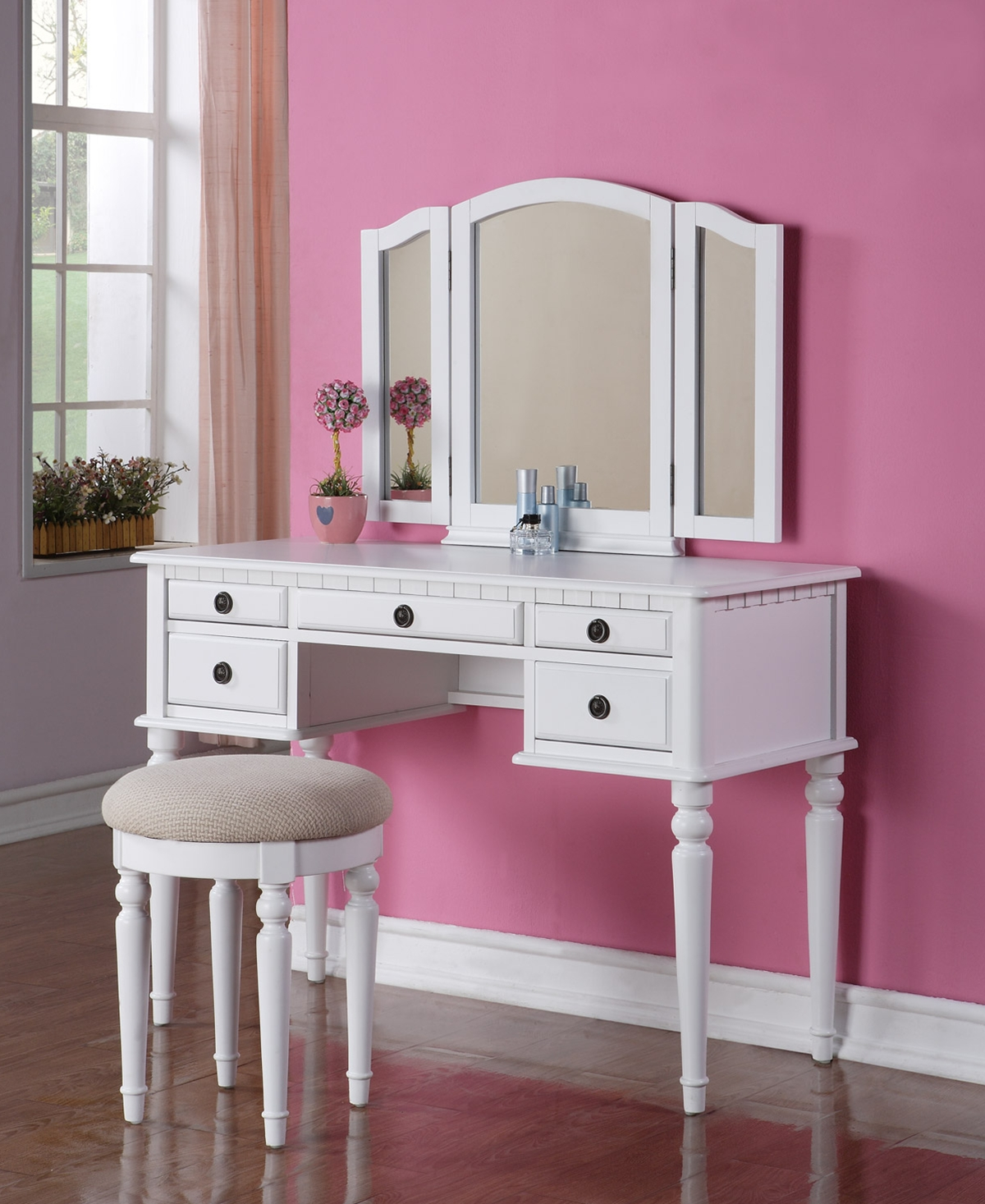Poundex Vanity w/ Stool, White F4074 (774)by New Furniture 4 Less